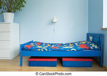 blu, ragazzo, stanza