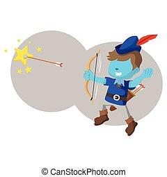 blu, ragazzo, stella cadente, con, freccia