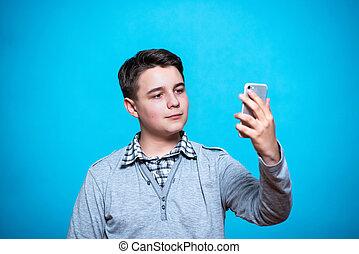 blu, ragazzo, studente, mobile, isolato, mano, telefono, adolescente, fondo, scolaro