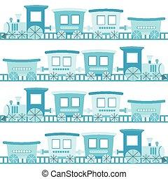 blu, ragazzo, trenino, fondo, bambino, cartone animato