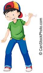 blu, ragazzo, verde, jeans, camicia