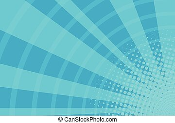 blu, raggi, arte, luce, pop, retro, fondo, cartone animato