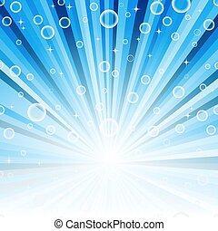 blu, raggi, astratto, stelle, balls., cornice