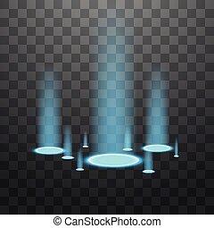 blu, raggi, illustration., fonti, backlights., scintille, candele, vettore, scena club, luce, isolato, fondo., dancefloor, nero, podium., notte, effetto, discoteca, trasparente, vuoto