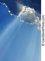 blu, raggi, luce, cielo chiaro, dio