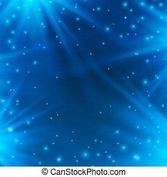 blu, raggi, neon, light., illustrazione, vettore, fondo