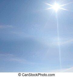 blu, raggi, nubi, cielo, sole, immagine