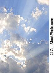 blu, raggi sole, cielo