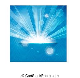 blu, raggi sole, fondo