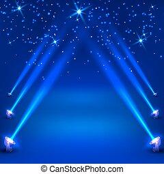 blu, raggi, spotlights., astratto, illustrazione, vettore, fondo
