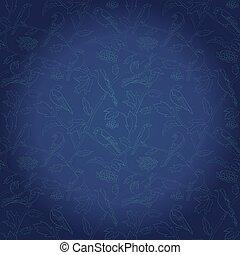 blu, rami, pendenza, scuro, vettore, rowan, fondo, bacche, uccelli