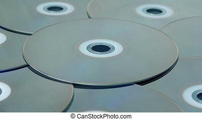 Blu-ray Discs Rotating - Many blu-ray disks turning slowly