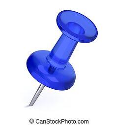 blu, realistico, -, thumbtack, 3d