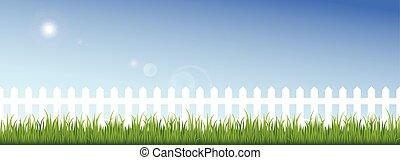 blu, recinto, cielo chiaro, sfondo verde, bianco, erba