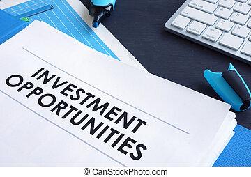 blu, relazione, folder., opportunità, investimento