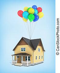 blu, render, casa, volare, fondo., palloni, 3d