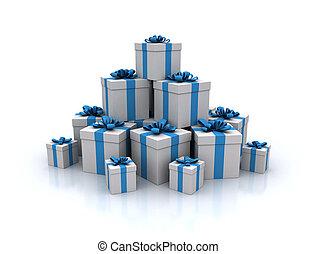 blu, render, regalo, alto, scatole, qualità, pila, 3d