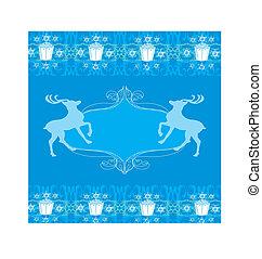 blu, renna, disegno