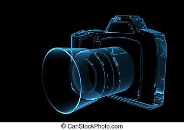 blu, reso, slr, xray, macchina fotografica, trasparente, 3d