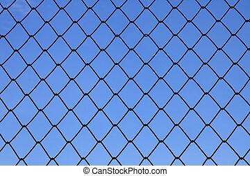 blu, rete, cielo, fondo, metallico