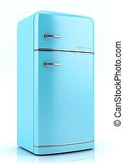 blu, retro, frigorifero