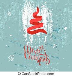 blu, ribbon., fatto, festivo, modello, albero, augurio, disegno, tradizionale, rosso, cartoline, posters., cartelle, annunci, natale