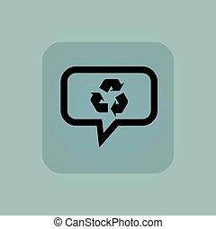 blu, riciclare, messaggio, pallido, icona