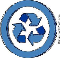 blu, riciclare, segno, scarabocchiare