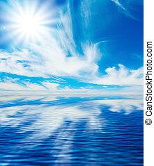 blu, riflessione, cielo