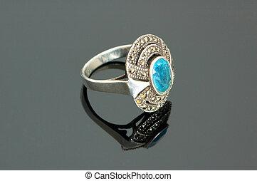 blu, riflessivo, pietra, anello, fondo