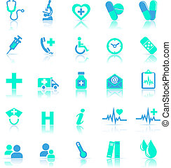 blu, riflettere, cura, salute, icone