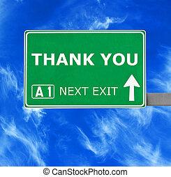 blu, ringraziare, cielo chiaro, contro, segno, lei, strada