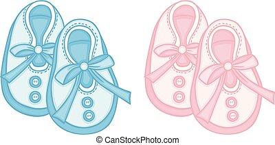blu, rosa, scarpe, bambino