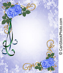 blu, rose, invito matrimonio