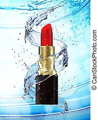 blu, rossetto, acqua, schizzo, fondo, rosso