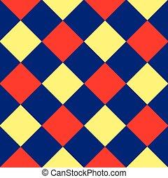 blu, rosso giallo, diamante, scacchiera, fondo