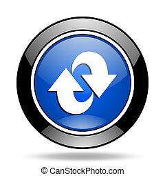 blu, rotazione, lucido, icona