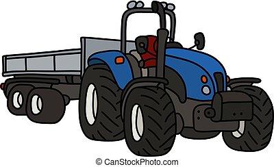 blu, roulotte, trattore