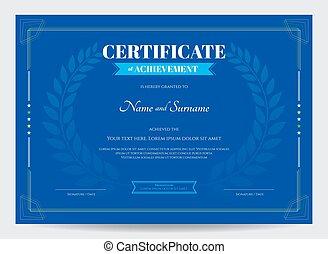 blu, sagoma, certificato, premio, fondo, alloro, realizzazione