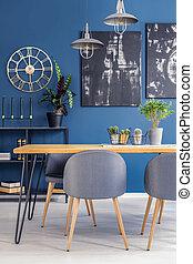 blu, sala da pranzo, dipinti