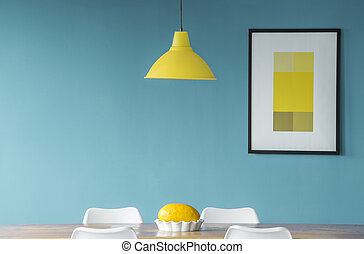 blu, sala da pranzo, giallo