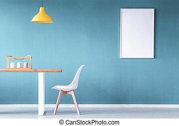 blu, sala da pranzo, mockup