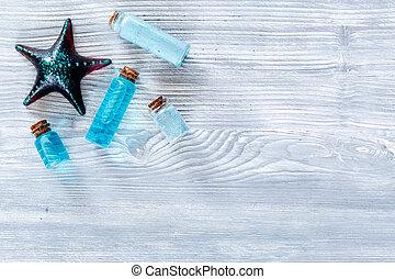 blu, sale, mare, copyspace, cima legno, lozione, cosmetics., fondo, argilla, vista