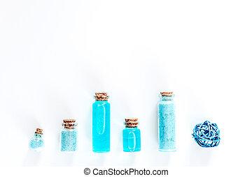 blu, sale, mare, copyspace, cima, lozione, cosmetics., fondo, argilla, bianco, vista