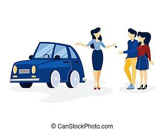 blu, salone, automobile, coppia, giovane, acquisto