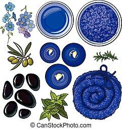 blu, salone, set, olio, asciugamano, -, accessori, candele, basalto, aromatico, terme, pietre, sale, massaggio