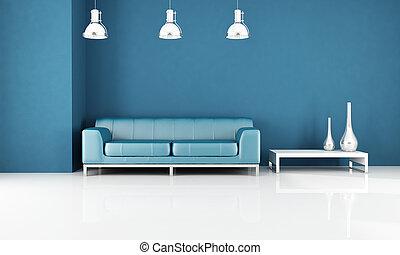 blu, salotto, moderno