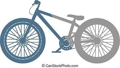 blu, salto, bicicletta, grigio, sporcizia