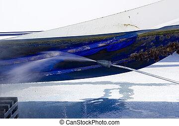 blu, scafo, pressione, barnacles, pulizia, rondella, barca