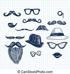 blu, scarabocchiare, elementi, hipster